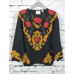 VINTAGE EXPRESS  | Hand Knitted Floral Sweater…